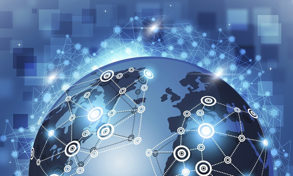 internet global connections concept blue business background