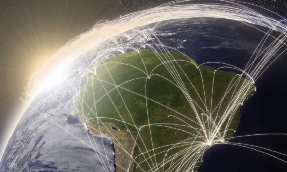 South America with network representing major air traffic routes. Elements of this image furnished by NASA.