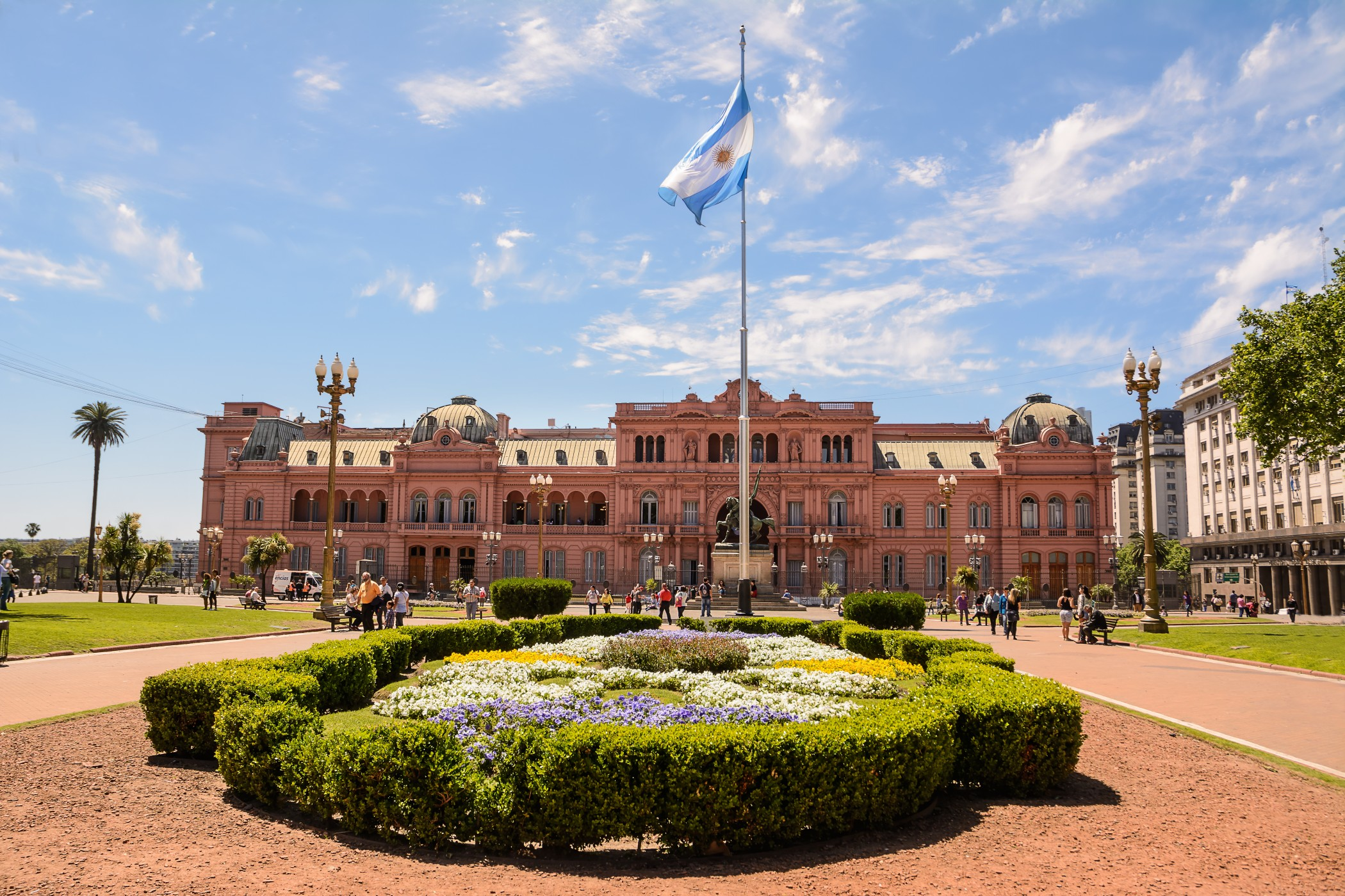 Buenos Aires, Argentina - October 30, 2016: Casa Rosada in Plaza de Mayo in Buenos aires with tourist in a sunny day.