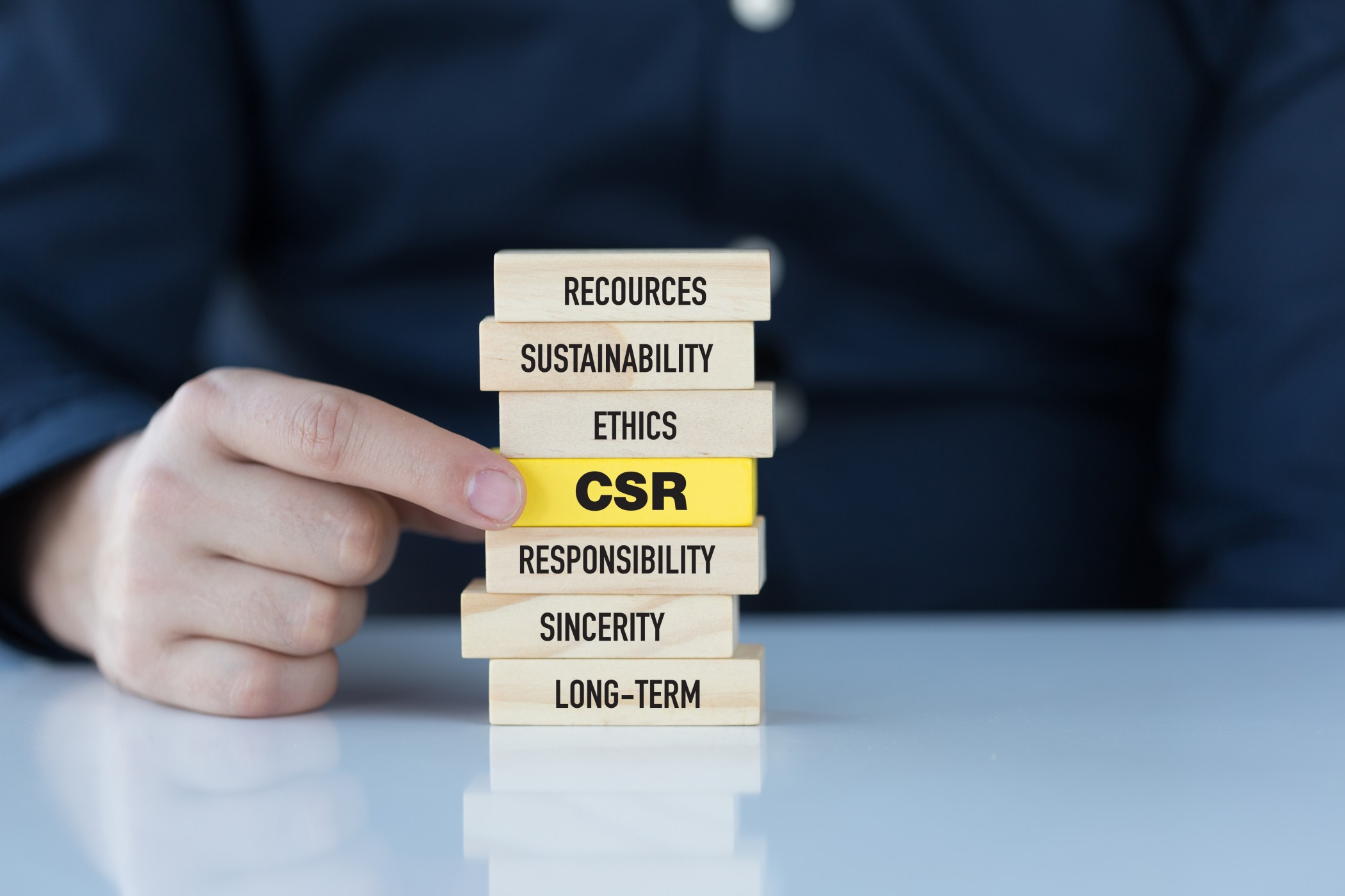 Corporate Social Responsibility Concept with Related Keywords on Wooden Blocks