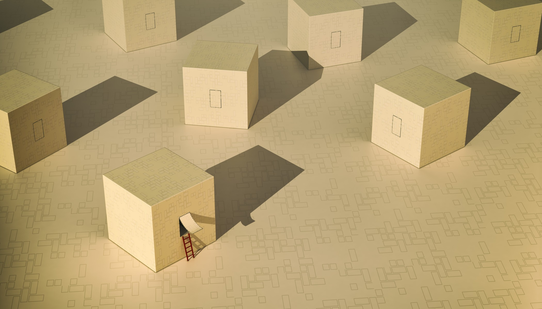 some boxes, one of them is open and has a ladder, concept of solution, freedom, or thinking outside the box (3d render)