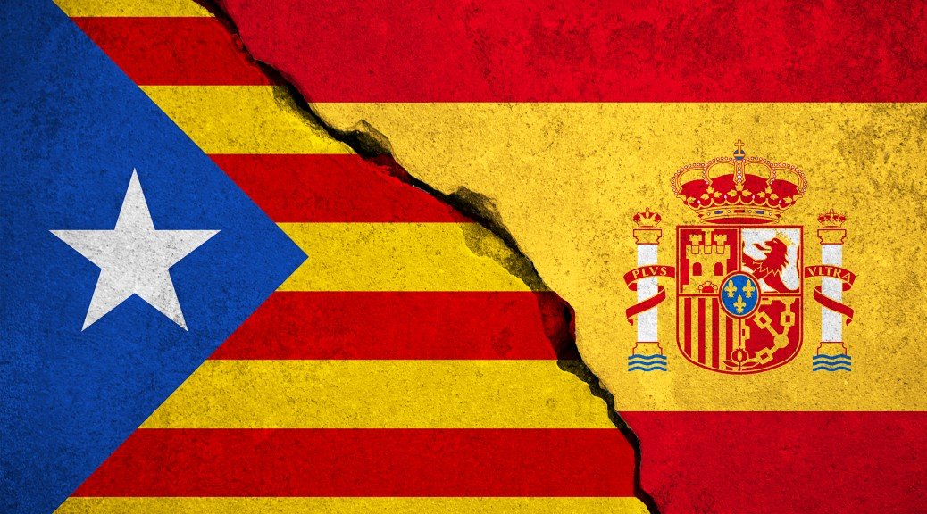 spain flag on broken brick wall and half catalan flag, vote referendum for catalonia independence exit national crisis separatism risk concept
