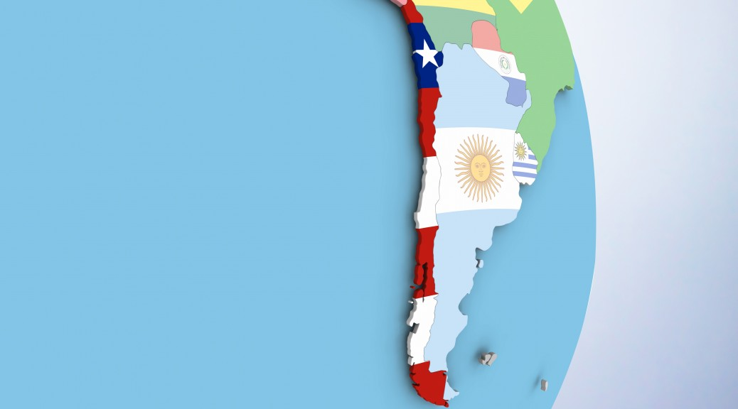Chile with embedded flag on globe. 3D illustration. 3D model of planet created and rendered in Cheetah3D software, 29 Sep 2017.