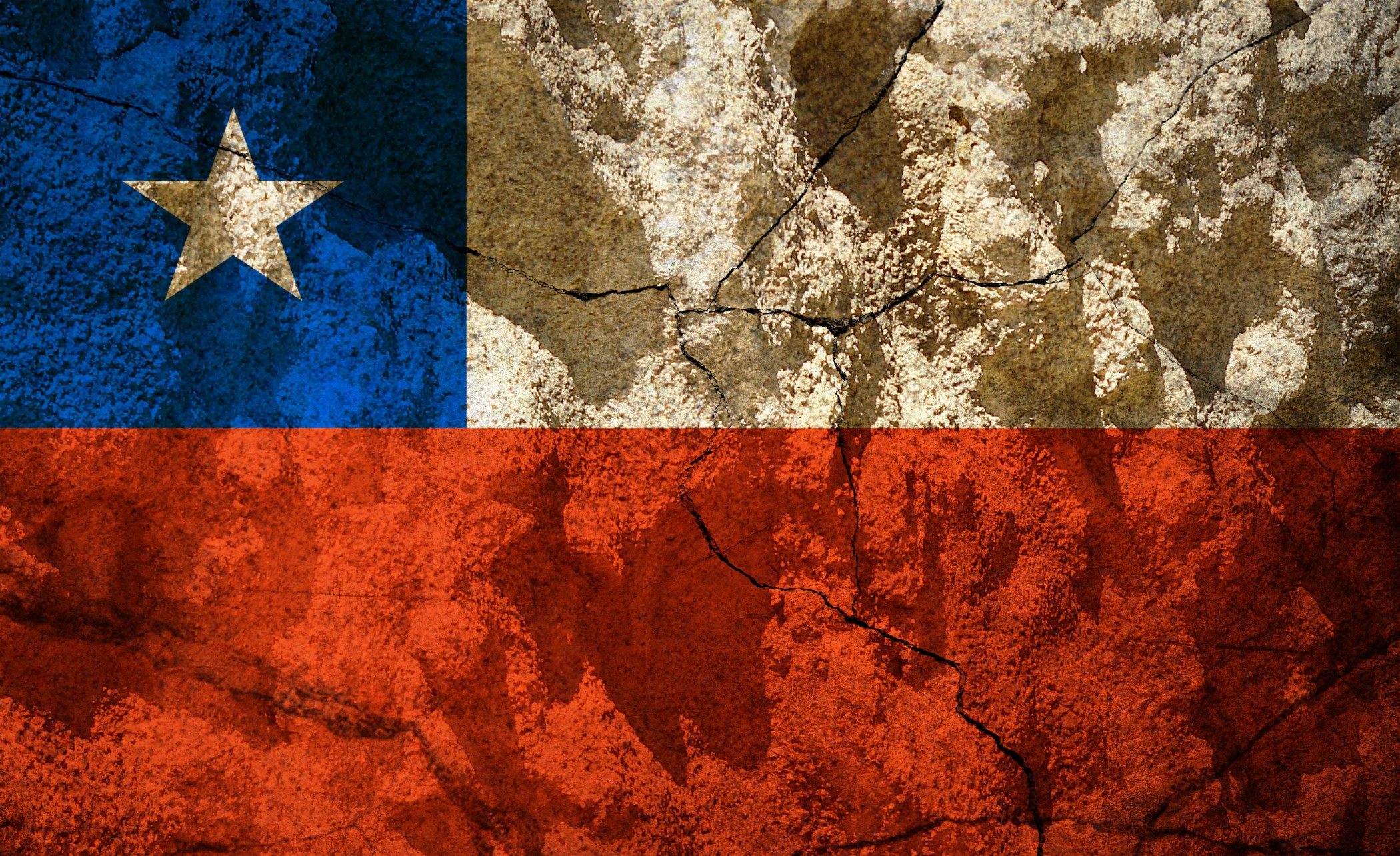 Chile flag on stone